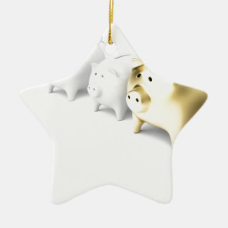 Row with piggy banks ceramic ornament