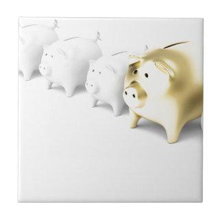Row with piggy banks ceramic tile
