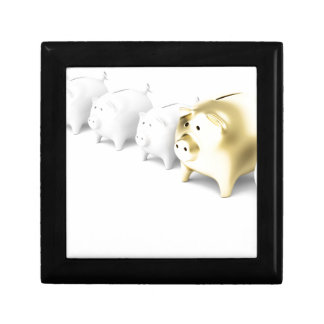 Row with piggy banks gift box