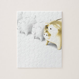 Row with piggy banks jigsaw puzzle
