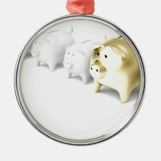 Row with piggy banks metal ornament