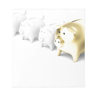 Row with piggy banks notepad