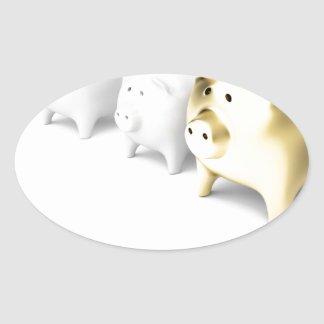 Row with piggy banks oval sticker