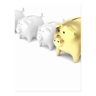 Row with piggy banks postcard