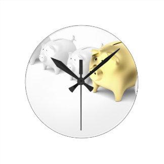 Row with piggy banks round clock