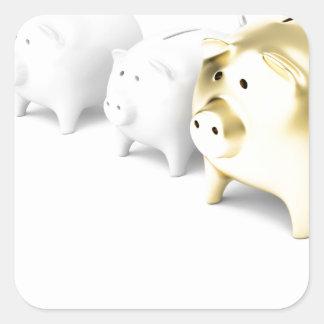 Row with piggy banks square sticker