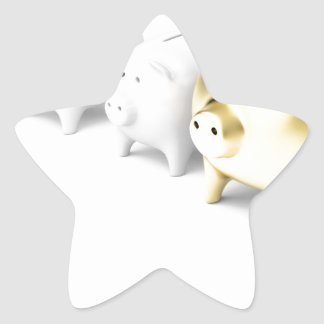 Row with piggy banks star sticker