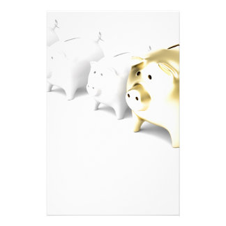 Row with piggy banks stationery