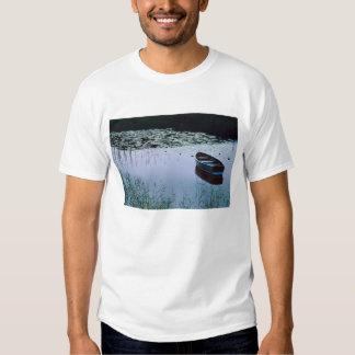 Rowboat on small lake surrounded by water tee shirts