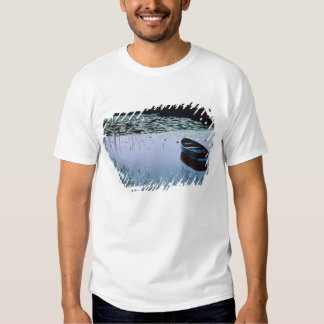 Rowboat on small lake surrounded by water tshirt