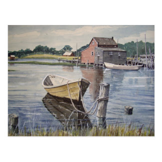 Rowboat on the Lake- postcard