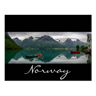 Rowboats with reflection in Norway black text card