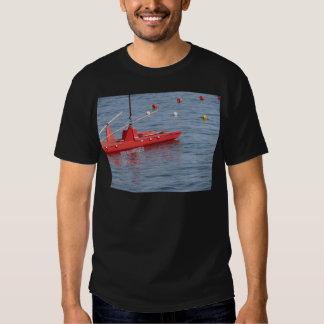 Rowed rescue catamaran at sea t shirts