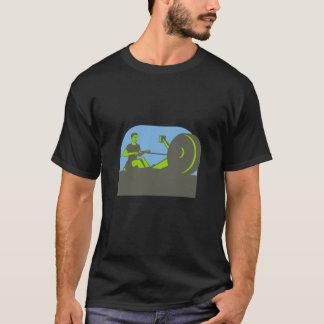 Rower Rowing Machine Half Circle Retro T-Shirt