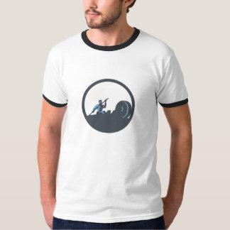 Rower Rowing Paddling Rowing Machine Circle Retro T-Shirt