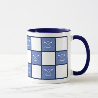 Rower's oar inspiring blue squares mug