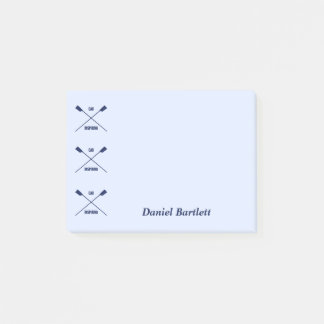 Rowers oar inspiring smart blue personalized post-it notes