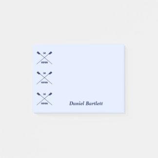 Rowers oar inspiring smart blue personalized post-it notes