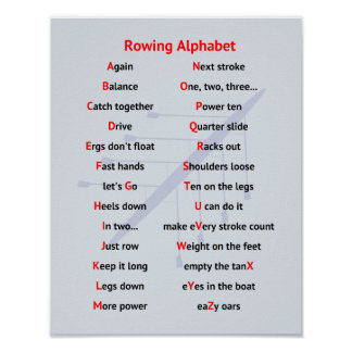 Rowing Alphabet fun A to Z sports Poster
