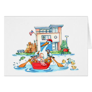 Rowing Boat Stork Baby - Birth announcement