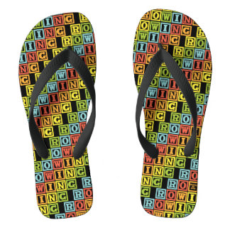 Rowing colourful lettering pattern thongs