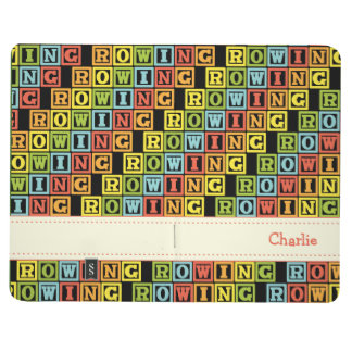 Rowing crew custom text colourful pattern journal