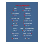 Rowing fun alphabet blue sports poster