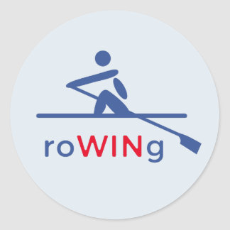 RoWINg motivational blue Round Sticker