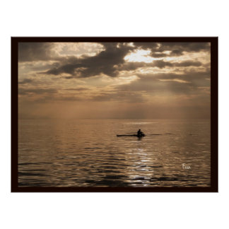 rowing on copper poster