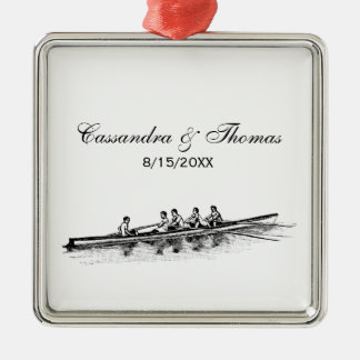 Rowing Rowers Crew Team Water Sports Metal Ornament