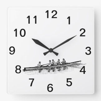 Rowing Rowers Crew Team Water Sports Square Wall Clock