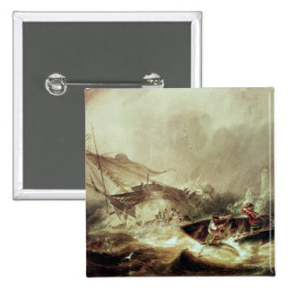 Rowing to rescue shipwrecked 15 cm square badge