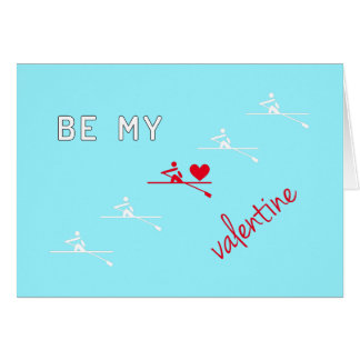 Rowing Valentine's Day red blue Card