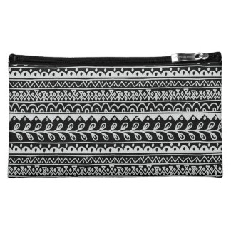 Rows of Black and White Doodle Patterns Cosmetic Bags