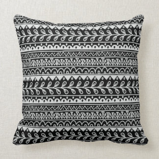 Rows of Black and White Doodle Patterns Cushion