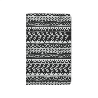 Rows of Black and White Doodle Patterns Journals