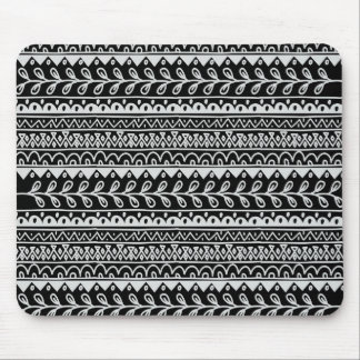 Rows of Black and White Doodle Patterns Mouse Pad