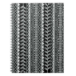 Rows of Black and White Doodle Patterns Spiral Note Books