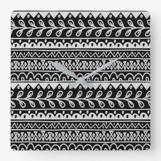 Rows of Black and White Doodle Patterns Square Wall Clock
