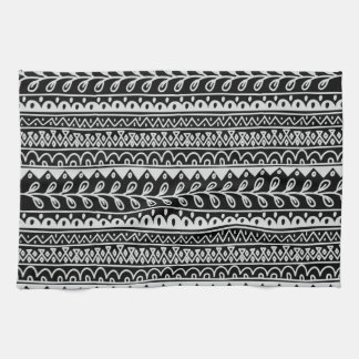 Rows of Black and White Doodle Patterns Tea Towel