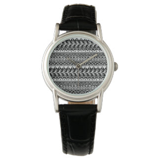 Rows of Black and White Doodle Patterns Watches