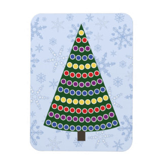Rows of Christmas Lights Tree on Snowflake Blizzar Rectangular Photo Magnet