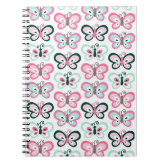 Rows of cute butterflies on spiral notebook