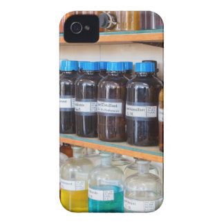 Rows of fluid chemicals in bottles at chemistry Case-Mate iPhone 4 cases
