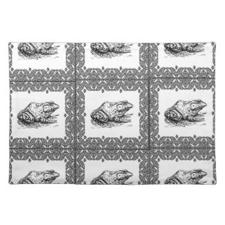rows of frogs placemat