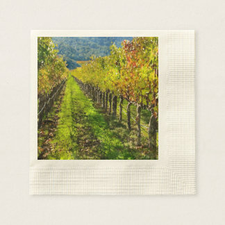Rows of Grapevines in Napa Valley California Disposable Napkin