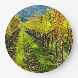 Rows of Grapevines in Napa Valley California Large Clock