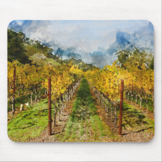 Rows of Grapevines in Napa Valley California Mouse Pad