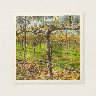 Rows of Grapevines in Napa Valley California Paper Serviettes