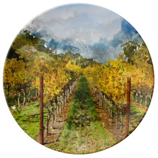 Rows of Grapevines in Napa Valley California Plate
